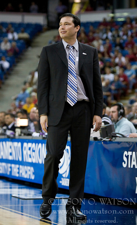 March 29, 2010; Sacramento, CA, USA; Xavier Musketeers head coach Kevin McGuff during the first half against the Stanford Cardinal in the finals of the Sacramental regional in the 2010 NCAA womens basketball tournament at ARCO Arena. Stanford defeated Xavier 55-53.