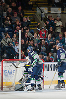 KELOWNA, CANADA - FEBRUARY 13: Matt Berlin #29 of the Seattle Thunderbirds misses a save against the Kelowna Rockets on February 13, 2017 at Prospera Place in Kelowna, British Columbia, Canada.  (Photo by Marissa Baecker/Shoot the Breeze)  *** Local Caption ***