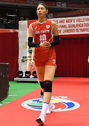 15-05-2016 JAP: OKT Nederland - Zuid Korea, Tokio<br /> Er is nog niets verloren, maar de volleybalsters van Oranje hebben tijdens het OKT een gevoelige 3-0 nederlaag geleden tegen Zuid-Korea / Sterspeelster Yeon-Koung KimC #10 of Korea