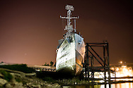 The decomissioned USS Kidd sits drydocked along the banks of the Mississppi River in downtown Baton Rouge, Louisiana