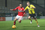 Stephen Walker of Middlesbrough (46) battles with Damien McCrory of Burton Albion (14) during the EFL Trophy group stage match between Burton Albion and U21 Middlesbrough at the Pirelli Stadium, Burton upon Trent, England on 7 November 2018.