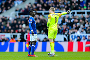 Jordan Pickford (#1) of Everton issues instructions to Idrissa Gueye (#17) of Everton during the Premier League match between Newcastle United and Everton at St. James's Park, Newcastle, England on 9 March 2019.