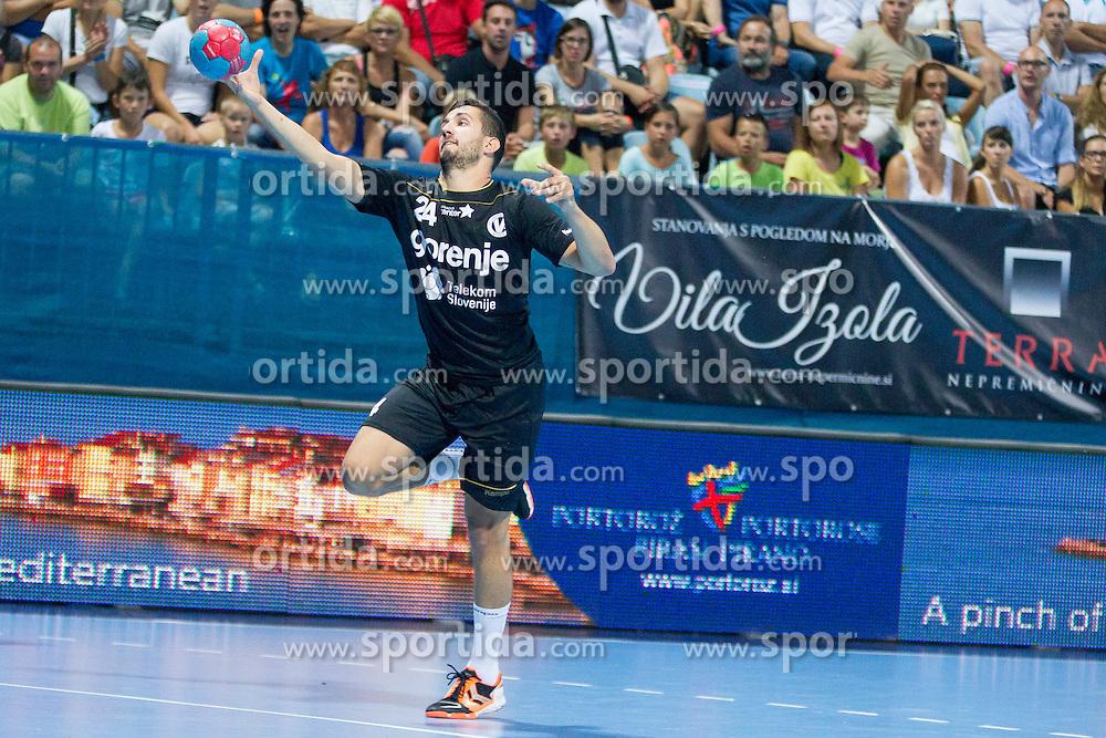 Mario Sostaric #24 of RK Gorenje Velenje during handball match between RK Celje Pivovarna Lasko vs RK Gorenje Velenje of Super Cup 2015, on August 29, 2015 in SRC Marina, Portoroz / Portorose, Slovenia. Photo by Urban Urbanc / Sportida
