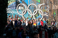 The Olympic rings in Whistler Village draw a crowd for photos during the 2010 Olympic Winter Games in Whistler, BC Canada.