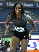 Mar 3, 3017; Albuquerque, NM, USA; Erica Bougard celebrates after clearing 6-0 1/2 in the pentathlon high jump for the top mark during the USA Indoor Track and Field championships at the Albuquerque Convention Center.
