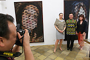 "Vienna, Austria. Galerie Suppan Contemporary. Vernissage of Zico Albaiquni (Indonesia), ""beyond the veil"".<br /> From l.: Dr. Claudia Suppan, H.E. Rachmat Budiman, Indonesian Ambassador to Austria, Dr. Melani Setiawan."