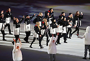 SOCHI, RUSSIA - FEBRUARY 07:  New Zealand Athletes enter the stadium during the Sochi 2014 Winter Olympics Opening Ceremony in the Fisht Olympic Stadium on February 7, 2014 in Sochi, Russia. Photo: Ian MacNicol/www.photosport.co.nz