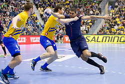 Daniel Narcisse of PSG during handball match between RK Celje Pivovarna Lasko (SLO) and Paris Saint-Germain Handball (FRA) in VELUX EHF Champions League, on February 11, 2018 in Dvorana Zlatorog, Celje, Slovenia. Photo by Urban Urbanc / Sportida