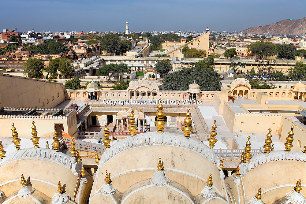 Hawa Mahal (Palace of Winds) and skyline of the city. Jaipur. Rajasthan, India