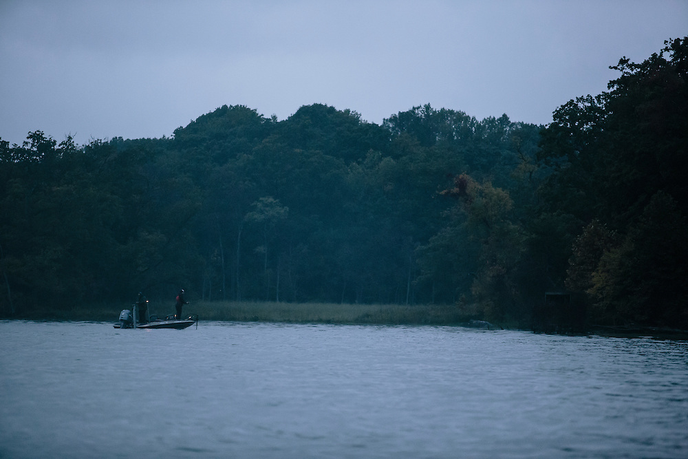 A team fishes near a marshy area along the Potomac River during the FLW College Fishing Northern Conference Invitational in Marbury, MD on Oct. 11, 2014. Some teams went an hour North or South by boat to find the best spot to catch bass.