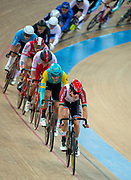 Portugal's Rui Filipe Alves Oliveira leads a group of riders during the Men's Omnium heat 1/4.UCI Track Cycling World Cup Hong Kong 2019, Qualifiers Leg VI at the Hong Kong Velodrome in Tseung Kwan O ,Kowloon