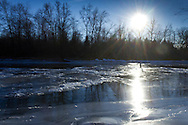 Montgomery, New York - Icy scenes by the Wallkill River on Jan. 24, 2014,