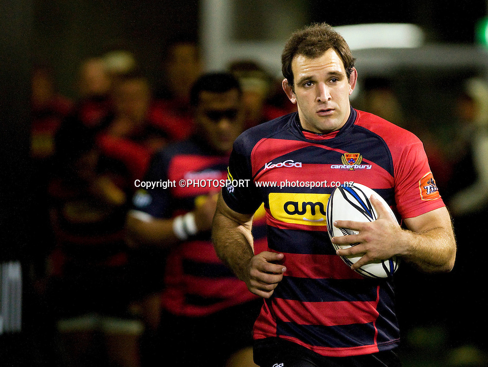 Canterbury captain George Whitelock leads the team out on the feild. ITM Cup. Canterbury v Wellington at AMI Stadium, Christchurch. Friday 30 July 2010. Photo: Joseph Johnson/PHOTOSPORT