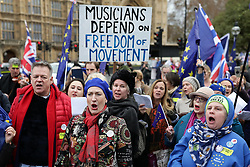 © Licensed to London News Pictures. 10/12/2018. London, UK. Anti-Brexit musicians protest in Westminster as Theresa May prepares to make a statement on exiting the EU in Parliament. Photo credit: Rob Pinney/LNP