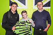 Man of the match Forest Green Rovers Matty Stevens(9) with match sponsors Chalford Building Supplies during the EFL Trophy match between Forest Green Rovers and U21 Southampton at the New Lawn, Forest Green, United Kingdom on 3 September 2019.
