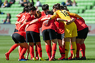 MELBOURNE, VIC - MARCH 06: Korea Republic huddle prior to the start of the second half during The Cup of Nations womens soccer match between New Zealand and Korea Republic on March 06, 2019 at AAMI Park, VIC. (Photo by Speed Media/Icon Sportswire)