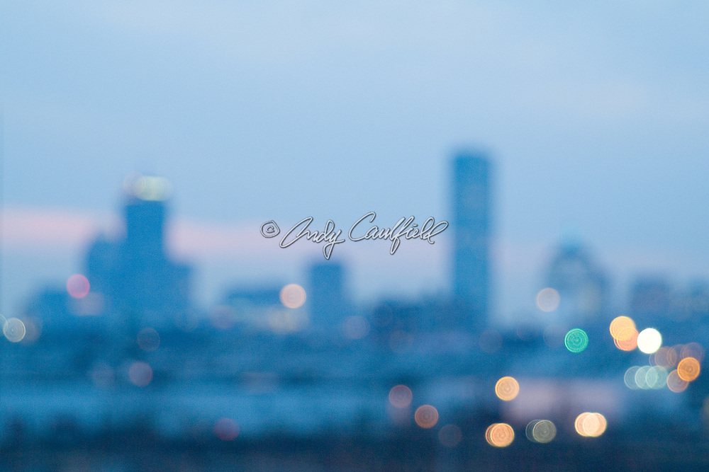 Boston skyline looking west at dusk in soft focus, MA.