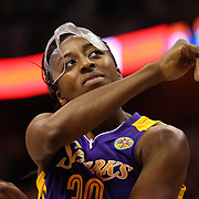 Nneka Ogwumike, Los Angeles Sparks, (wearing face mask), in action during the Connecticut Sun Vs Los Angeles Sparks WNBA regular season game at Mohegan Sun Arena, Uncasville, Connecticut, USA. 3rd July 2014. Photo Tim Clayton