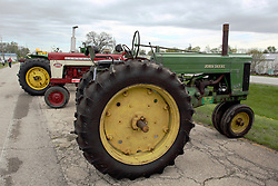"""04 May 2013:   Arranged to coincide and be a part of the Red Corridor Route 66 festival, the village of Lexington hosts an antique tractor show.  Roger Whaley is the chairman of the organizing committee.  1955 John Deere model 60 - affectionately named """"Florence""""."""