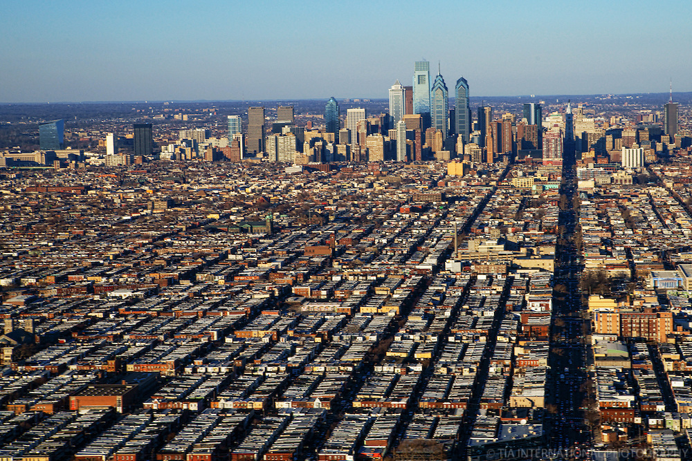 Aerial View, South Philadelphia & Skyline