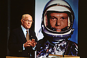 US Senator and astronaut John Glenn announces that at age 76 he will be returning to space aboard the space shuttle January 16, 1998 at NASA Headquarters in Washington, DC.