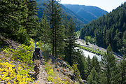 Fly fisherman and dog hiking the Middle Fork of the Flathead River in the remote Great Bear Wilderness (part of the Flathead National Forest) in NW Montana.