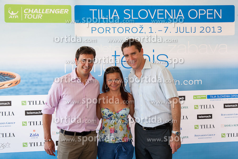 Denis Topcic, Katja Kranjc and Gregor Krusic during press conference of ATP Challenger Tilia Slovenia Open 2013, on June 20, 2013 in Hotel Metropol, Portoroz, Slovenia. (Photo By Vid Ponikvar / Sportida)