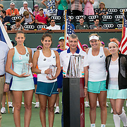 March 19, 2016, Palm Springs, CA:<br /> Trophy ceremony following the women's doubles finals match between Bethanie Mattek-Sands and Coco Vandeweghe and Julia Goerges and Karolina Pliskova during the 2016 BNP Paribas Open at the Indian Wells Tennis Garden in Indian Wells, California Saturday, March 19, 2016.<br /> (Photos by Billie Weiss/BNP Paribas Open)