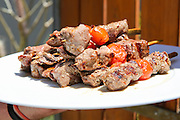 Grilled red meat skewers