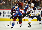 SHOT 2/25/17 9:12:12 PM - The Buffalo Sabres' Evander Kane #9 chases the Colorado Avalanche's Matt Nieto #83 up ice during their NHL regular season game at the Pepsi Center in Denver, Co. The Avalanche won the game 5-3. (Photo by Marc Piscotty / © 2017)