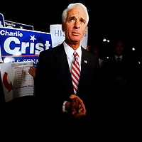 ST. PETERSBURG, FL -- November 2, 2010 -- Senate candidate Gov. Charlie Crist arrives to cast his ballot at the Coliseum in downtown St. Petersburg, Fla., early on the Mid-Term Election Day on Tuesday, November 2, 2010.  Crist, who is running as an Independent, is in a three-way race for the seat against Republican Marco Rubio and Democrat Kendrick Meek.