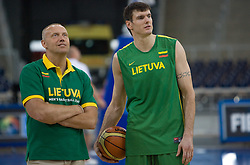 Assistant Coach of Lithuania Rimas Kurtinaitis and Ksystof Lavrinovic during the practice session, on September 11, 2009 in Arena Lodz, Hala Sportowa, Lodz, Poland.  (Photo by Vid Ponikvar / Sportida)