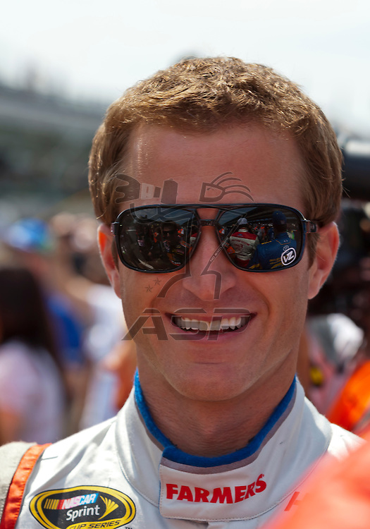 INDIANPOLIS, IN - JUL 29, 2012:  Kasey Kahne (5) talks with the media before the Curtiss Shaver 400 presented by Crown Royal at the Indianapolis Motor Speedway in Indianapolis, IN.