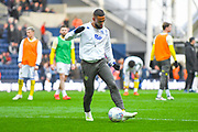 Kemar Roofe of Leeds United (7) warming up during the EFL Sky Bet Championship match between Preston North End and Leeds United at Deepdale, Preston, England on 9 April 2019.