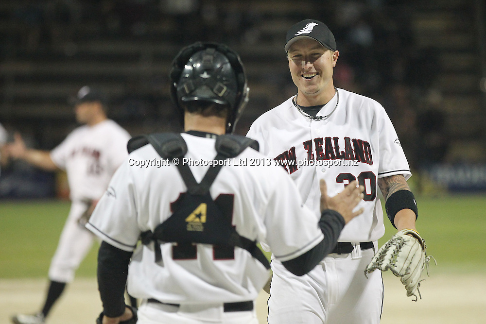 Nik Hayes celebrates the win in the World Mens Softball Championships game one New Zealand Black Sox v Mexico at Rosedale Park, Albany, Auckland. Photo: Fiona Goodall/photosport.co.nz