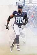 NASHVILLE, TN - NOVEMBER 29:  Brian Orakpo #98 of the Tennessee Titans runs onto the field before a game against the Oakland Raiders at Nissan Stadium on November 29, 2015 in Nashville, Tennessee.  The Raiders defeated the Titans 24-21.  (Photo by Wesley Hitt/Getty Images) *** Local Caption *** Brian Orakpo