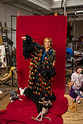 Paula Rego photographed in her studio in London. Rego is a Portuguese visual artist who is particularly well known for her paintings and prints based on storybooks. Rego's style has evolved from abstract towards representational, and she has favoured pastels over oils for much of her career. Her work often reflects feminism, coloured by folk-themes from her native Portugal. Rego studied at the Slade School of Fine Art and was an exhibiting member of the London Group with David Hockney and Frank Auerbach. She was the first artist-in-residence at the National Gallery in London. She lives and works in London.