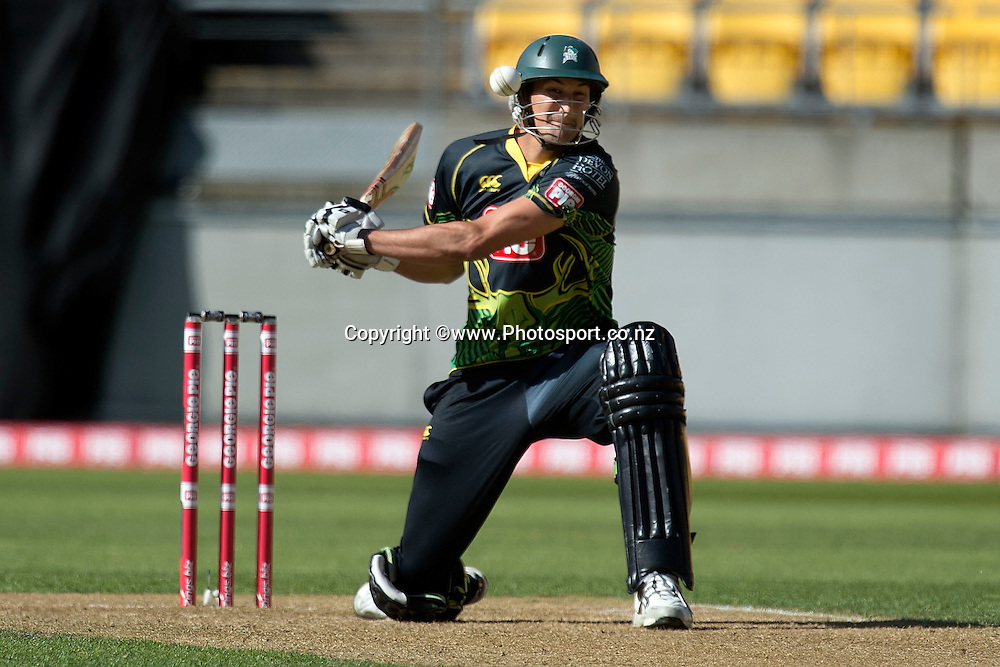 Andrew Mathieson of the Stags is narrowly missed by the ball during the Georgie Pie Super Smash Firebirds v Stags cricket match at the Westpac Stadium in Wellington on Sunday the 23rd of November 2014. Photo by Marty Melville/www.Photosport.co.nz