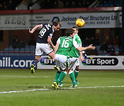 24th January 2018, Dens Park, Dundee, Scottish Premiership, Dundee versus Hibernian; Dundee's Paul McGowan misses a great chance to score