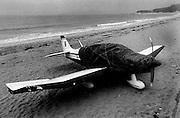 Avioneta en la playa de Samil, Vigo