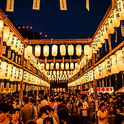 Chochin lanterns hang at a shrine in Nagoya, Japan, during July Bon celebrations. Bon is a tradtional Japanese holiday held in July and August.