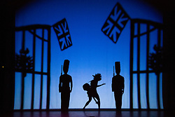 "© Licensed to London News Pictures. 12 March 2014. London, England. Pictured: Homage to London. Pilobolus dance troupe presents ""Shadowland"", a show part dance, part circus, part concert utilising multiple moving screens. ""Shadowland"" is performed for the first time in the UK. Created in collaboration with Steven Banks and featuring a score by David Poe, the show will run from 11 March to 30 March 2014 at the Peacock Theatre, London. Photo credit: Bettina Strenske/LNP"
