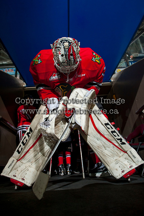 KELOWNA, CANADA - APRIL 7: Cole Kehler #31 of the Portland Winterhawks stands in the tunnel against the Kelowna Rockets on April 7, 2017 at Prospera Place in Kelowna, British Columbia, Canada.  (Photo by Marissa Baecker/Shoot the Breeze)  *** Local Caption ***