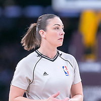 16 November 2014: NBA referee Lauren Holtkamp is seen during the Golden State Warriors 136-115 victory over the Los Angeles Lakers at the Staples Center, Los Angeles, California, USA.