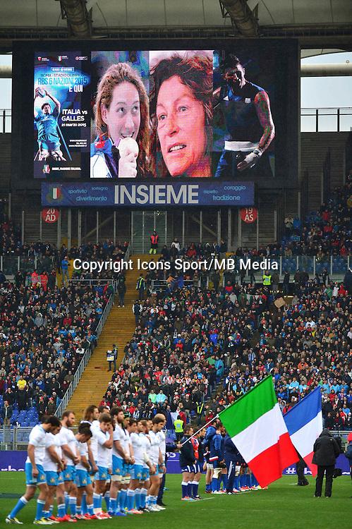 Hommage aux sportifs decedes - Camille Muffat / Florence Arthaud / Alexis Vastine  - 15.03.2015 - Rugby - Italie / France - Tournoi des VI Nations -Rome<br /> Photo : David Winter / Icon Sport