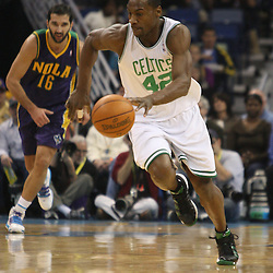 Feb 10, 2010; New Orleans, LA, USA; Boston Celtics guard Tony Allen (42) drives down the court against the New Orleans Hornets during the first quarter at the New Orleans Arena. Mandatory Credit: Derick E. Hingle-US PRESSWIRE