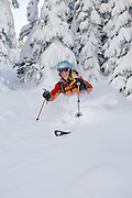 One woman skiing through the trees in Vail, Colorado