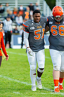 KELOWNA, BC - OCTOBER 6: Daniel Townsend #66 assists Jordan Robinson #51 of Okanagan Sun off the field against the VI Raiders at the Apple Bowl on October 6, 2019 in Kelowna, Canada. (Photo by Marissa Baecker/Shoot the Breeze)