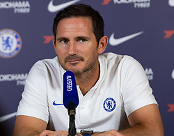 © Licensed to London News Pictures. 23/08/2019. Cobham, UK. Press conference with Chelsea manager Frank Lampard ahead of the Norwich City v Chelsea FC match. Photo credit: Peter Manning/LNP
