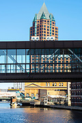 View of the Milwaukee Center Office Tower along Milwaukee's River Walk, Milwaukee, Wisconsin, USA.